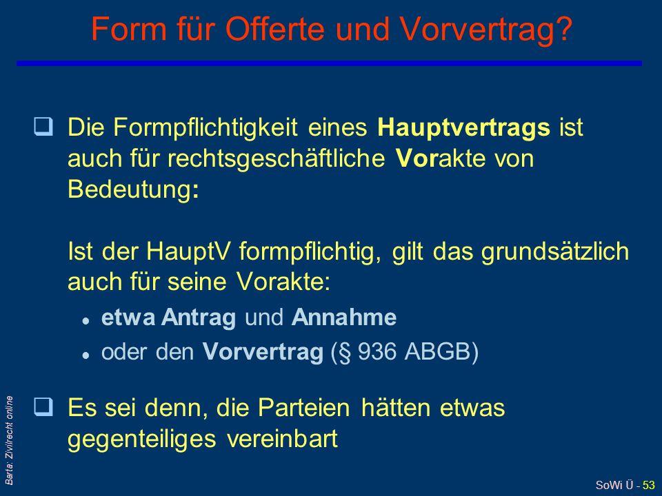 Form für Offerte und Vorvertrag