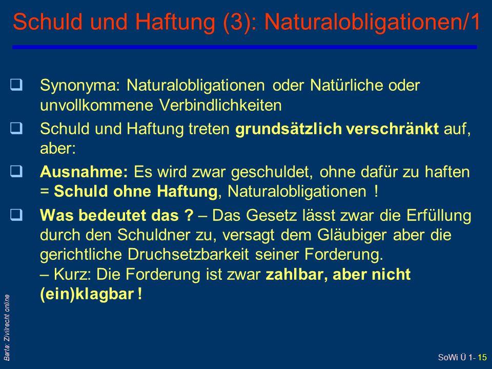 Schuld und Haftung (3): Naturalobligationen/1