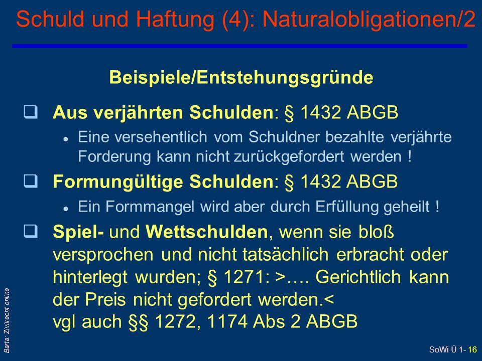 Schuld und Haftung (4): Naturalobligationen/2