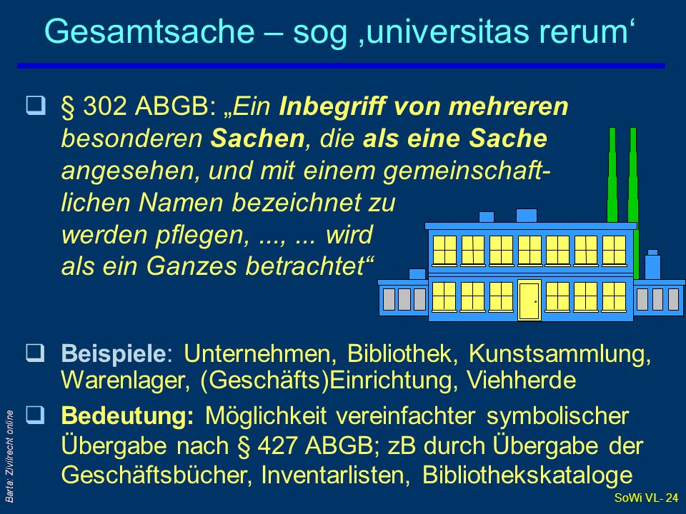 Gesamtsache – sog 'universitas rerum'