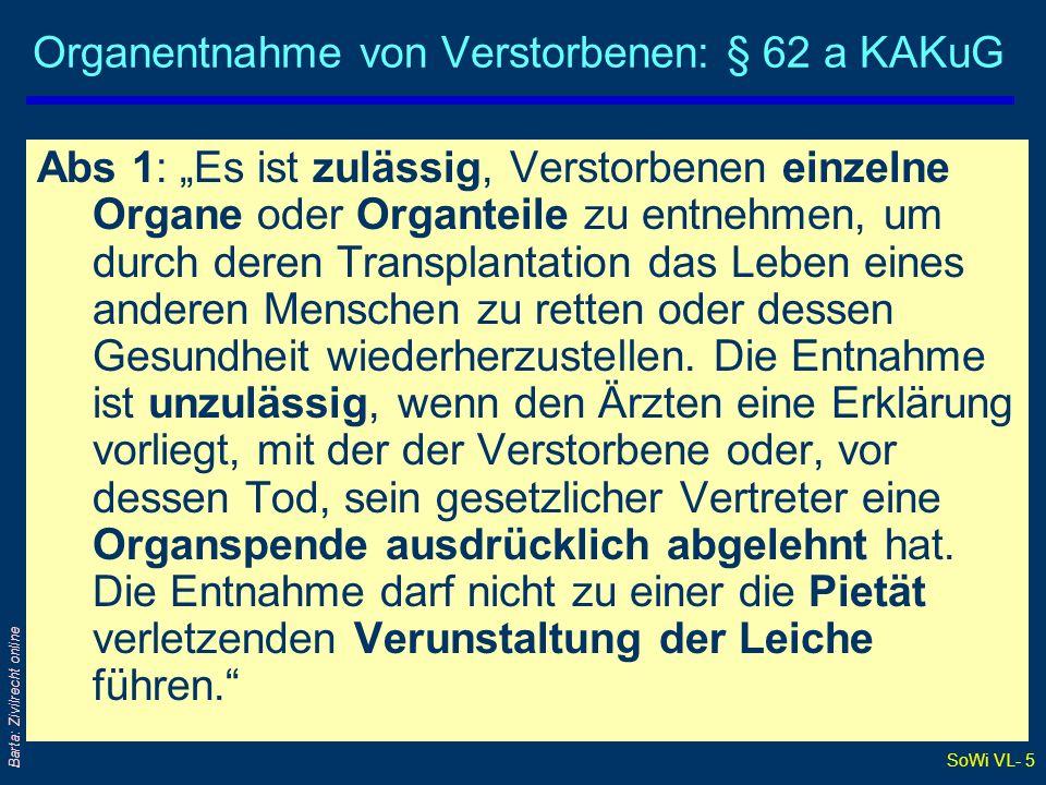 Organentnahme von Verstorbenen: § 62 a KAKuG