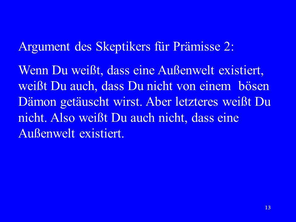 Argument des Skeptikers für Prämisse 2: