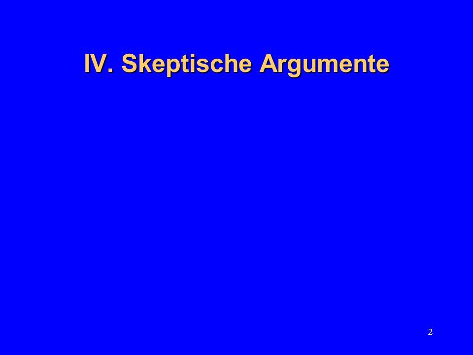 IV. Skeptische Argumente