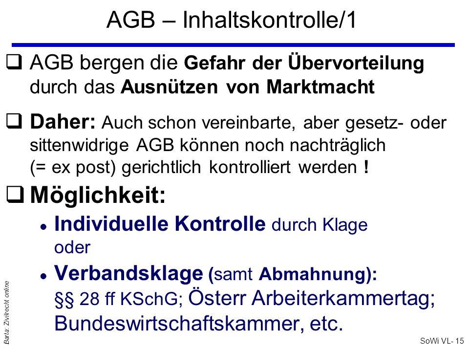 AGB – Inhaltskontrolle/1