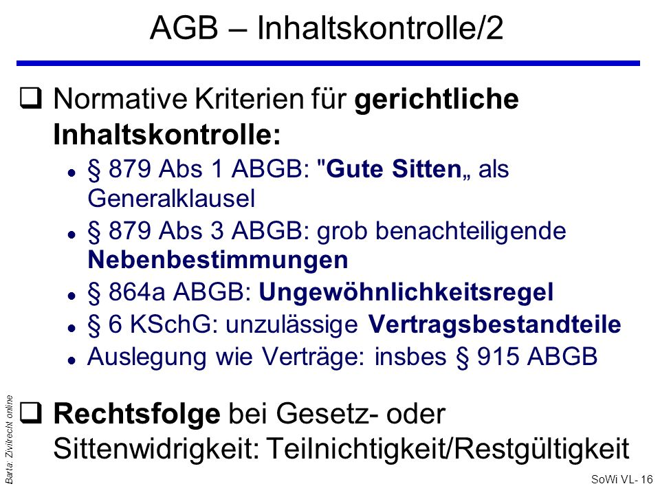 AGB – Inhaltskontrolle/2