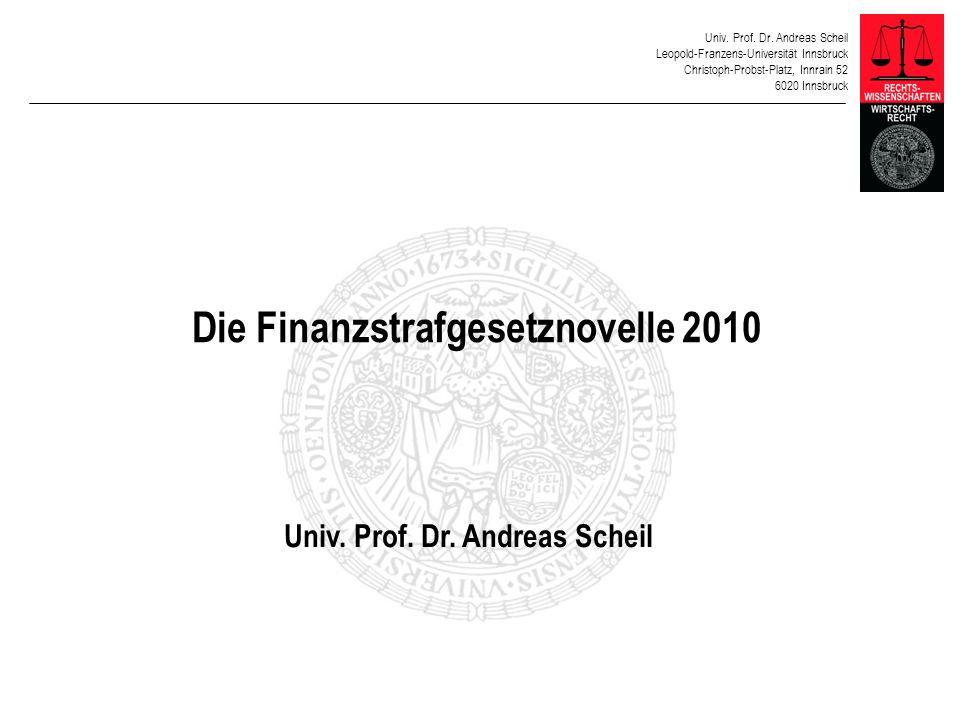 Die Finanzstrafgesetznovelle 2010