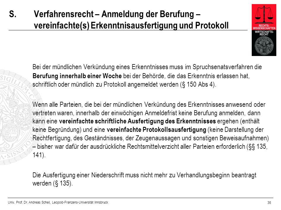 S. Verfahrensrecht – Anmeldung der Berufung – vereinfachte(s) Erkenntnisausfertigung und Protokoll