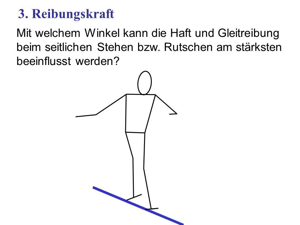 3. Reibungskraft Mit welchem Winkel kann die Haft und Gleitreibung beim seitlichen Stehen bzw.