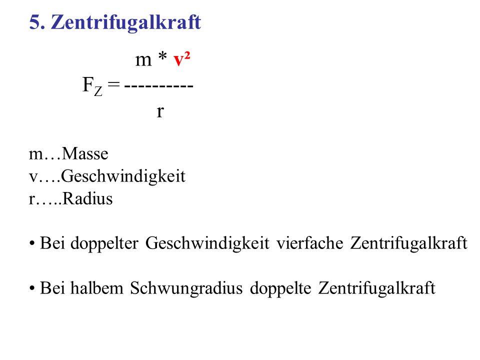 5. Zentrifugalkraft m * v² FZ = ---------- r m…Masse