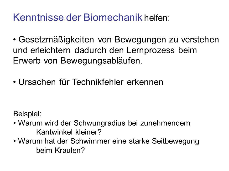 Kenntnisse der Biomechanik helfen: