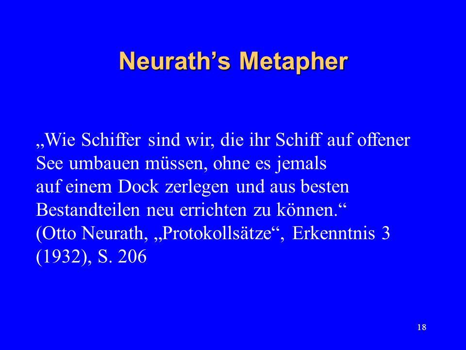 """Neurath's Metapher """"Wie Schiffer sind wir, die ihr Schiff auf offener See umbauen müssen, ohne es jemals."""