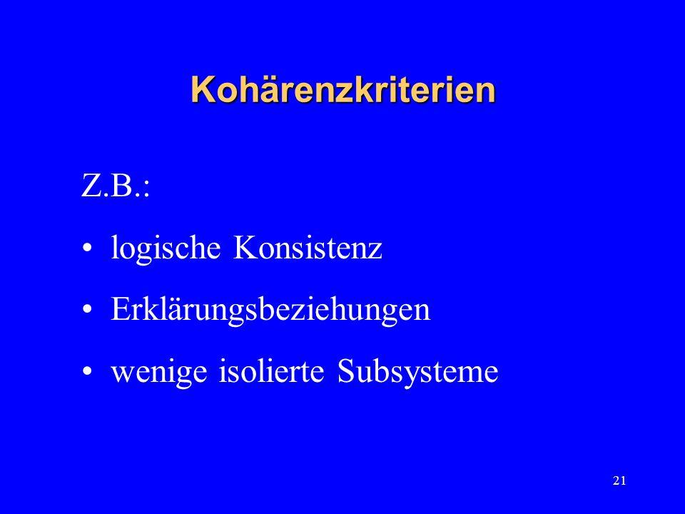 Kohärenzkriterien Z.B.: logische Konsistenz Erklärungsbeziehungen
