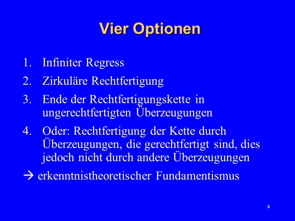 Vier Optionen Infiniter Regress Zirkuläre Rechtfertigung