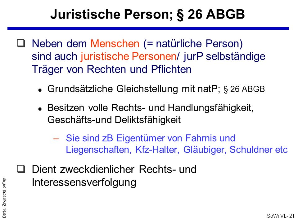 Juristische Person; § 26 ABGB