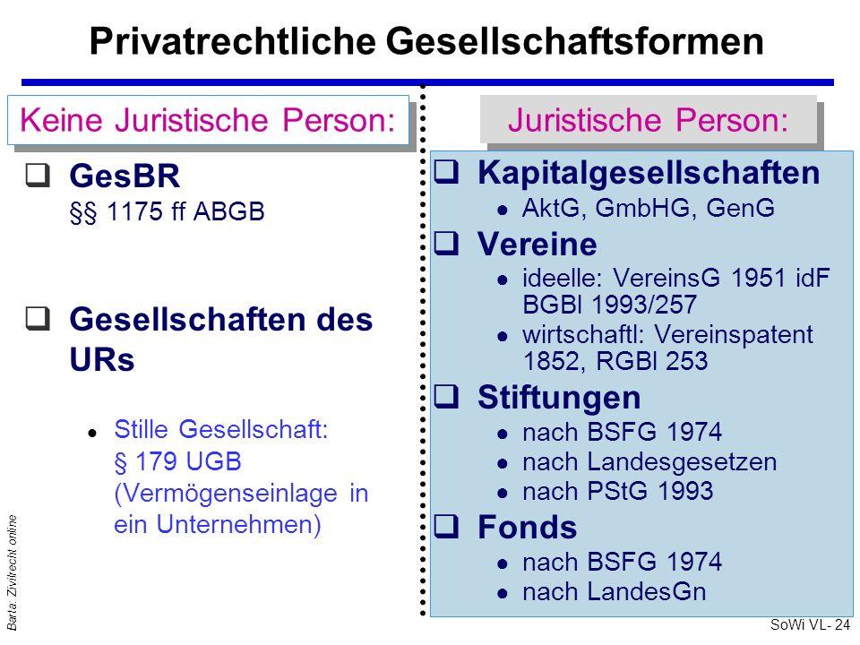 Privatrechtliche Gesellschaftsformen