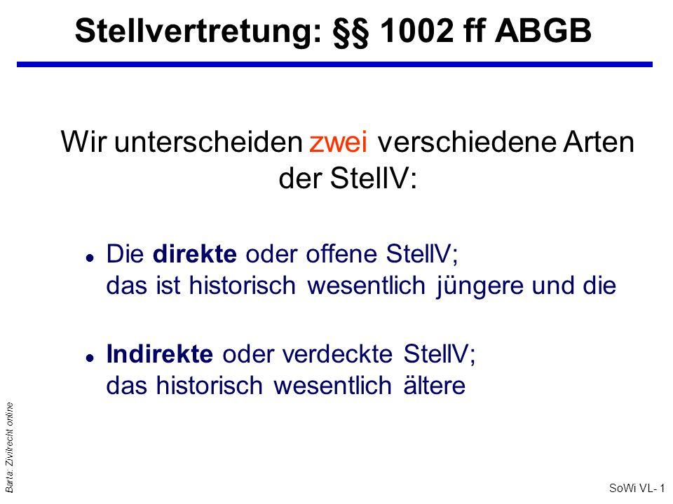 Stellvertretung: §§ 1002 ff ABGB