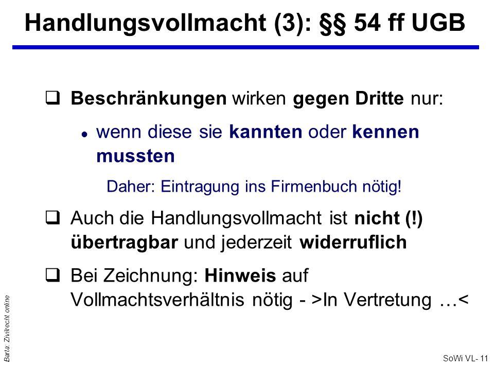 Handlungsvollmacht (3): §§ 54 ff UGB