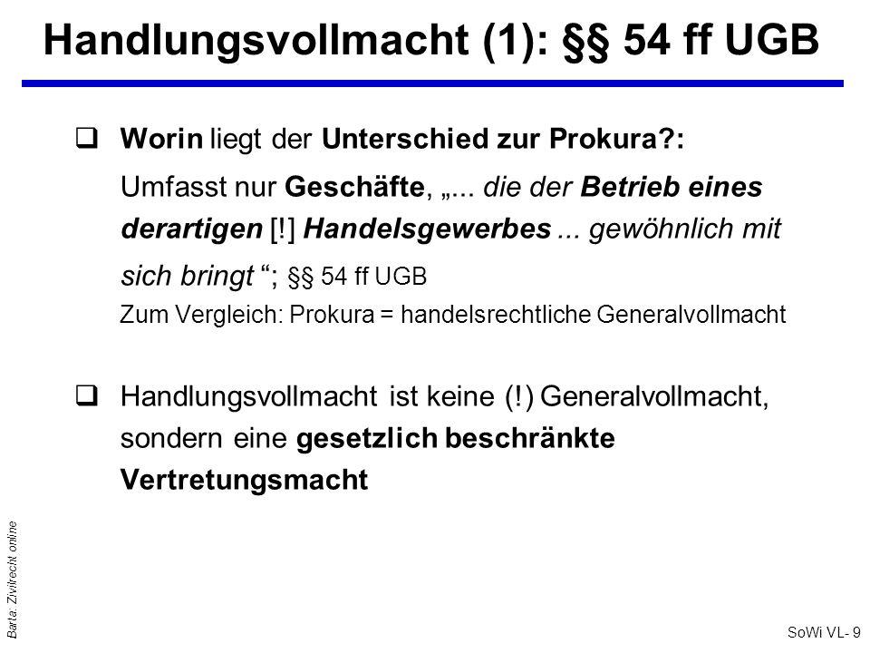 Handlungsvollmacht (1): §§ 54 ff UGB