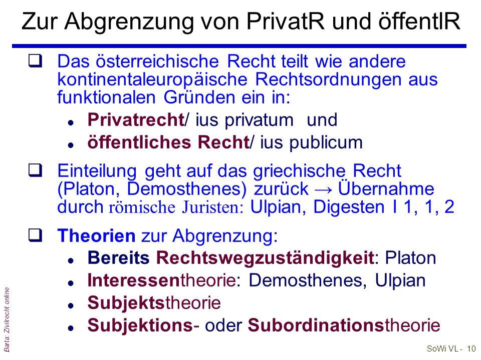 Zur Abgrenzung von PrivatR und öffentlR