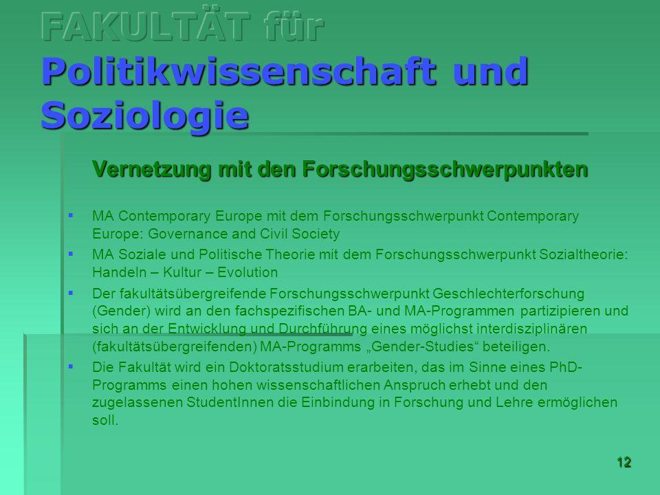 FAKULTÄT für Politikwissenschaft und Soziologie