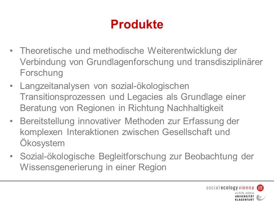 Produkte Theoretische und methodische Weiterentwicklung der Verbindung von Grundlagenforschung und transdisziplinärer Forschung.