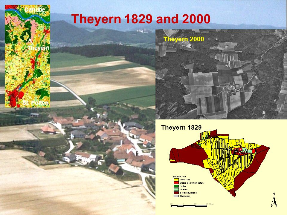 Theyern 1829 and 2000 Theyern 2000 Theyern 1829 Danube Theyern