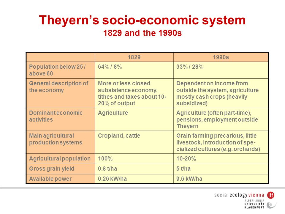 Theyern's socio-economic system 1829 and the 1990s