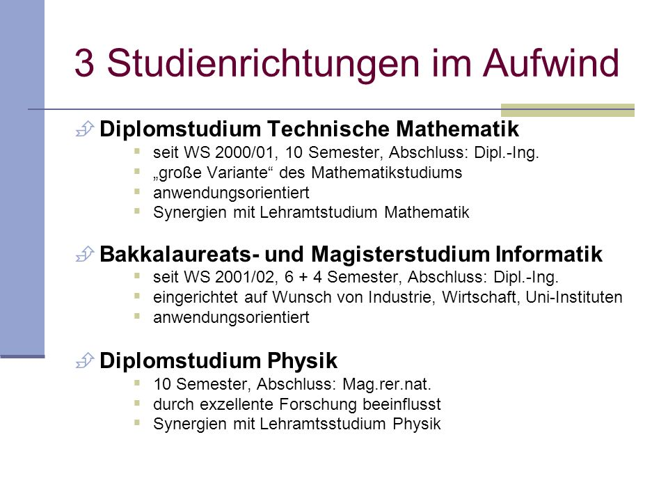 3 Studienrichtungen im Aufwind