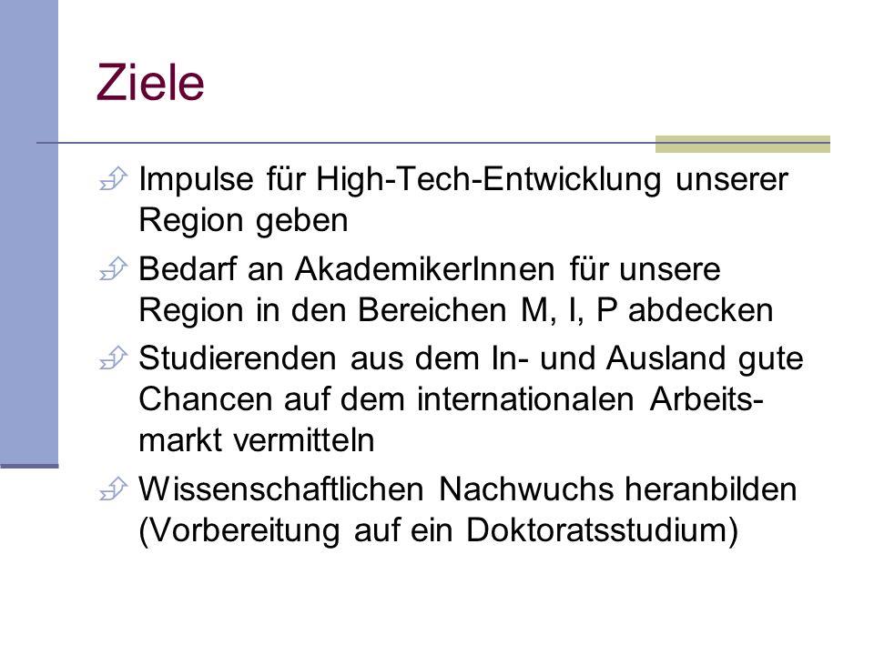 Ziele Impulse für High-Tech-Entwicklung unserer Region geben