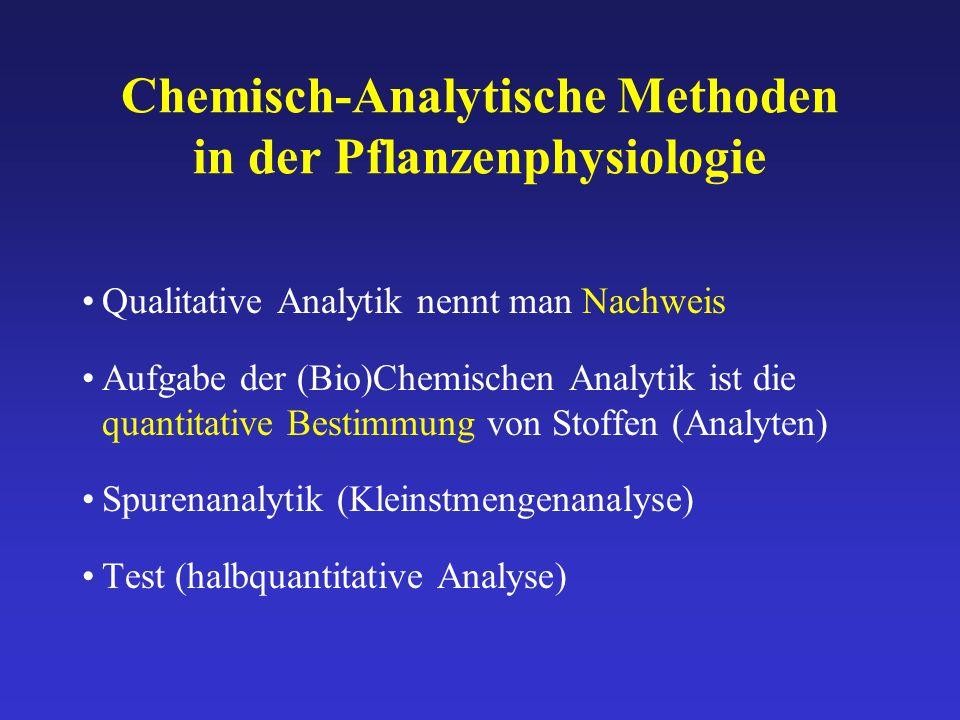 Chemisch-Analytische Methoden in der Pflanzenphysiologie
