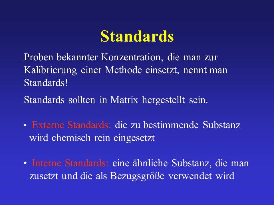 Standards Proben bekannter Konzentration, die man zur Kalibrierung einer Methode einsetzt, nennt man Standards!