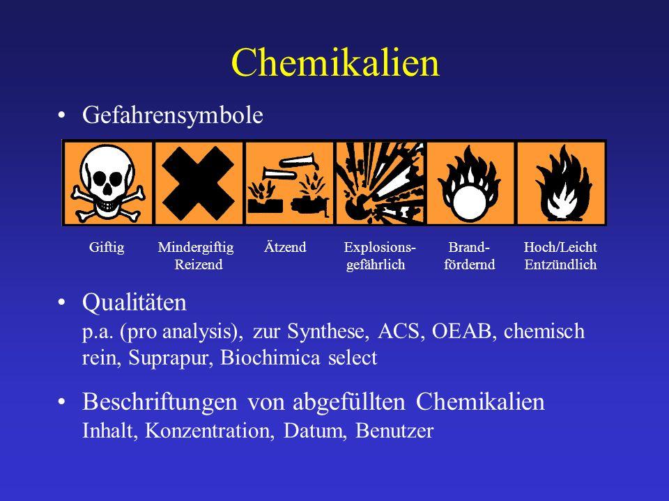 Chemikalien Gefahrensymbole