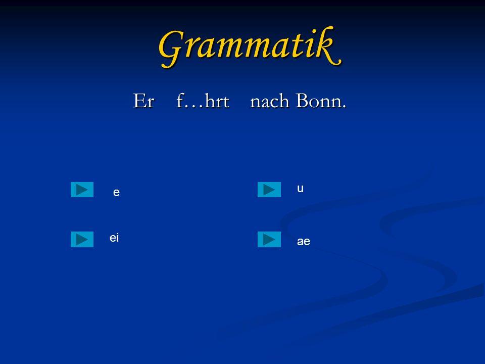 Grammatik Er f…hrt nach Bonn. u e еi ae