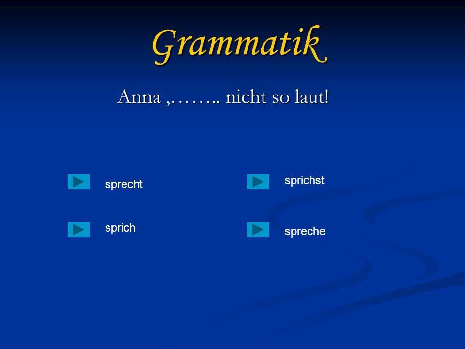 Grammatik Anna ,…….. nicht so laut! sprichst sprecht sprich spreche