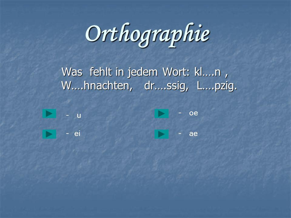 Was fehlt in jedem Wort: kl….n , W….hnachten, dr….ssig, L….pzig.