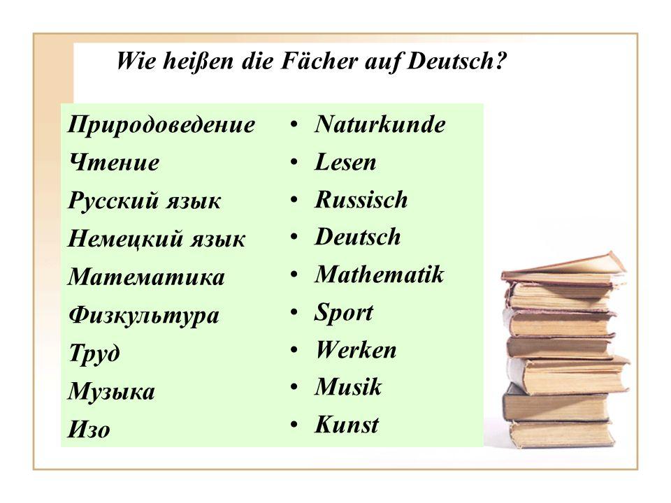 Wie heißen die Fächer auf Deutsch