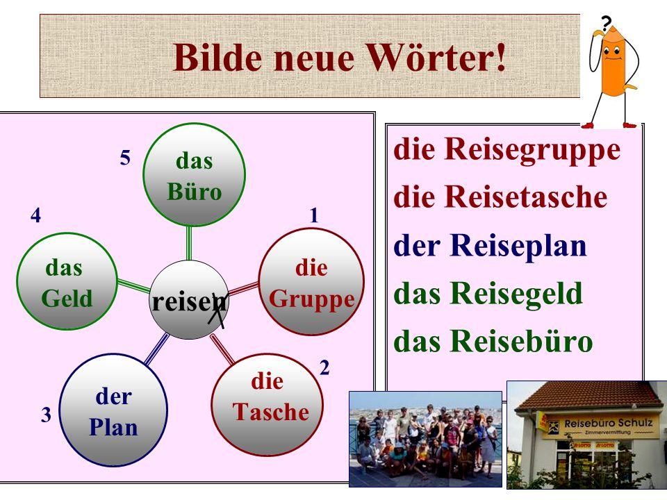 Bilde neue Wörter! die Reisegruppe die Reisetasche der Reiseplan