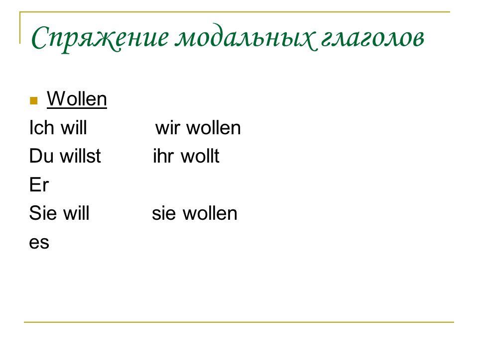 Спряжение модальных глаголов