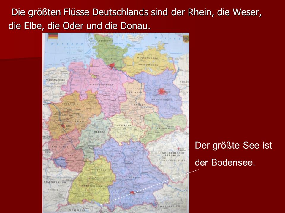 Die größten Flüsse Deutschlands sind der Rhein, die Weser,