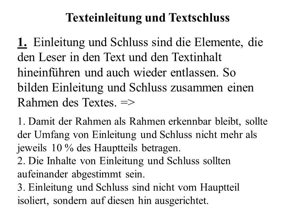 Texteinleitung und Textschluss