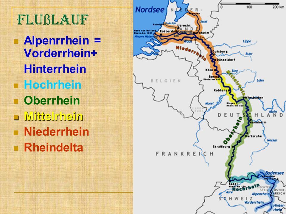 Flußlauf Alpenrrhein = Vorderrhein+ Hinterrhein Hochrhein Oberrhein