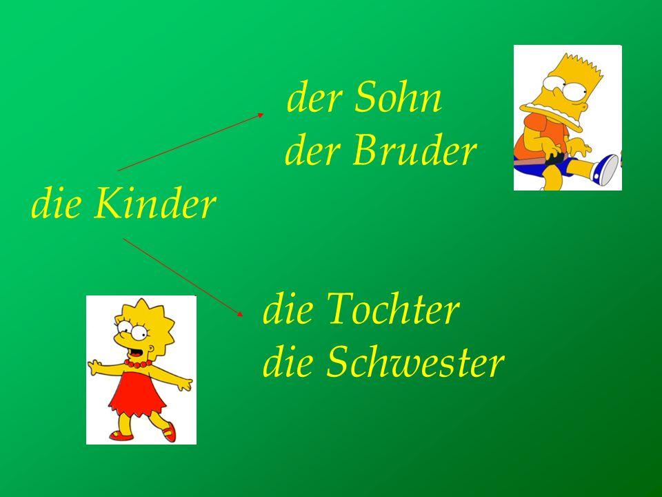 der Sohn der Bruder die Kinder die Tochter die Schwester