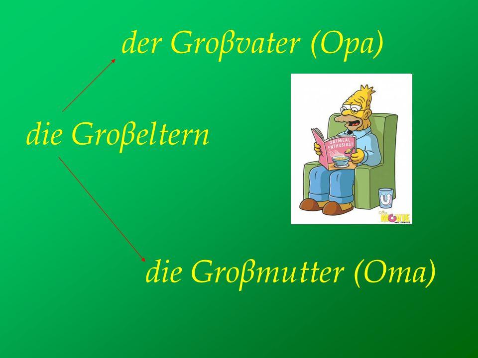 der Groβvater (Opa) die Groβeltern die Groβmutter (Oma)