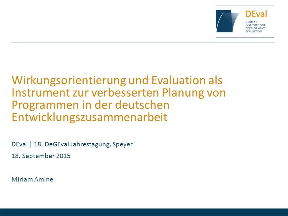 Wirkungsorientierung und Evaluation als Instrument zur verbesserten Planung von Programmen in der deutschen Entwicklungszusammenarbeit
