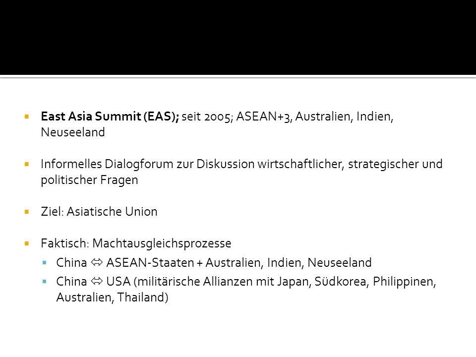 East Asia Summit (EAS); seit 2005; ASEAN+3, Australien, Indien, Neuseeland
