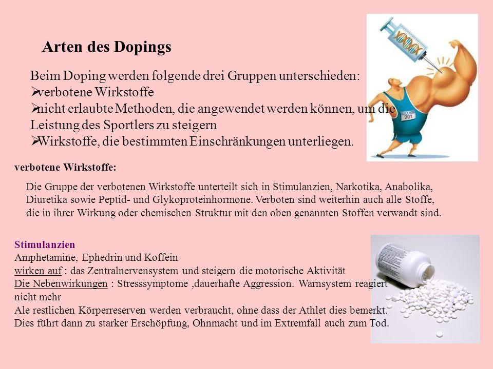 Arten des Dopings Beim Doping werden folgende drei Gruppen unterschieden: verbotene Wirkstoffe.