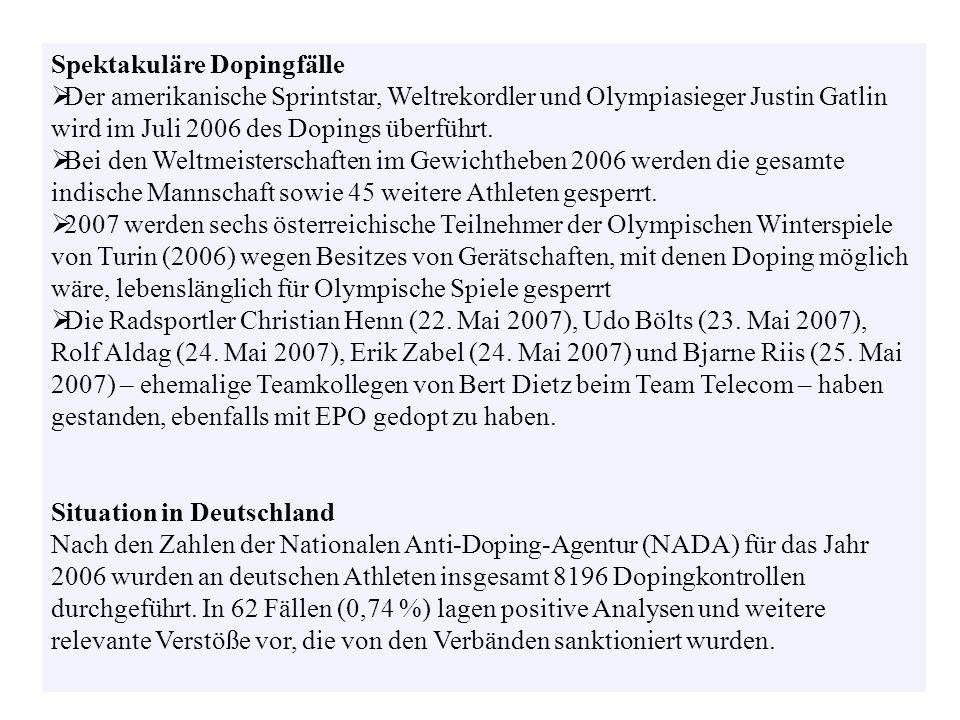 Spektakuläre Dopingfälle