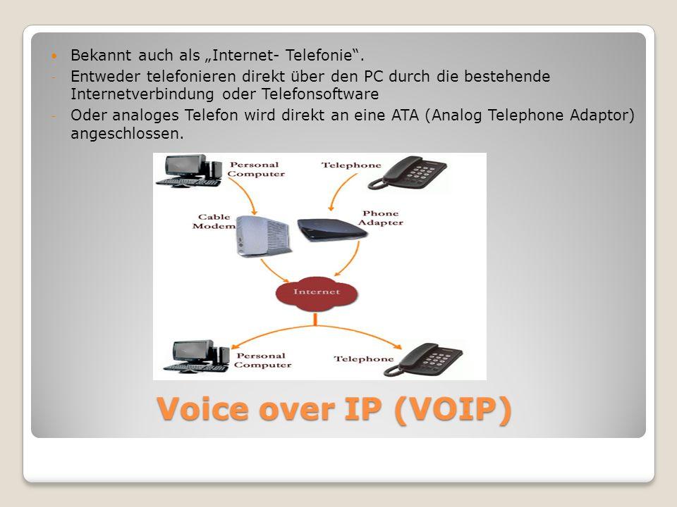 """Voice over IP (VOIP) Bekannt auch als """"Internet- Telefonie ."""