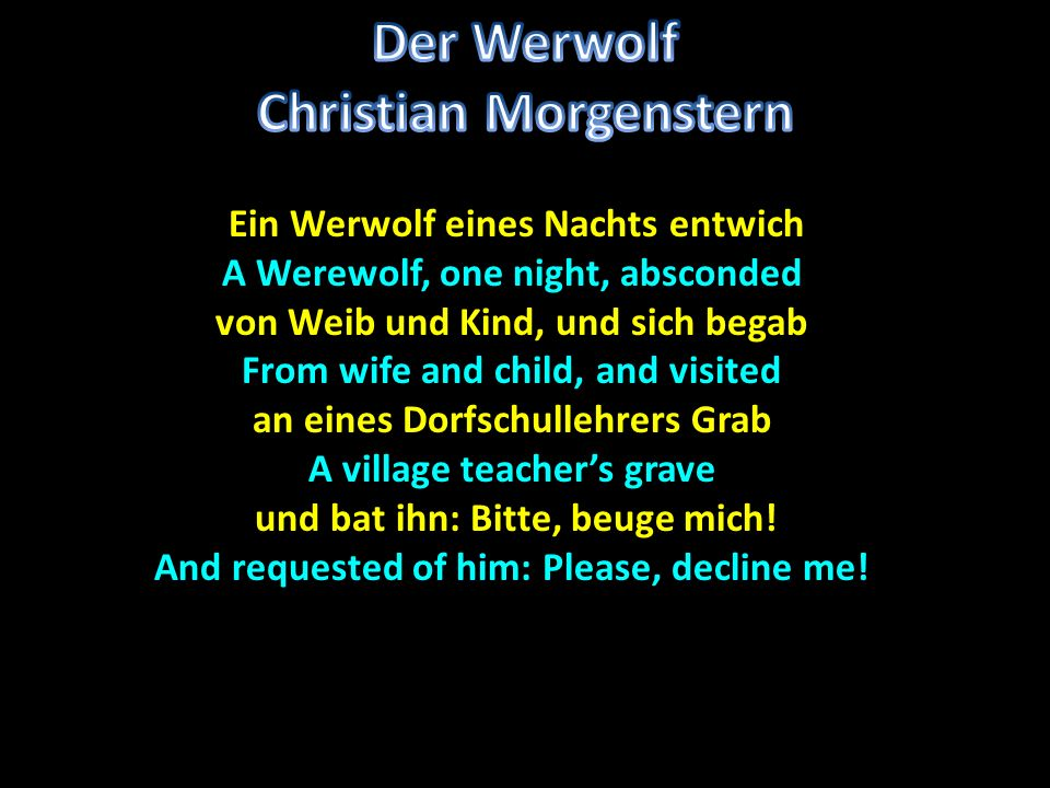 Der Werwolf Christian Morgenstern