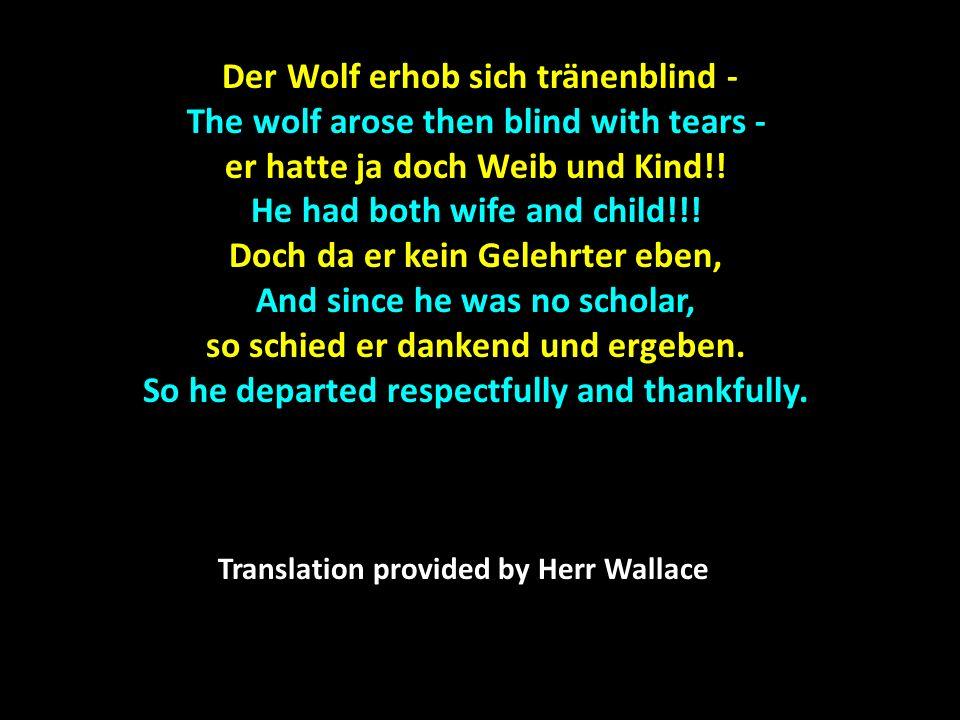 Der Wolf erhob sich tränenblind -